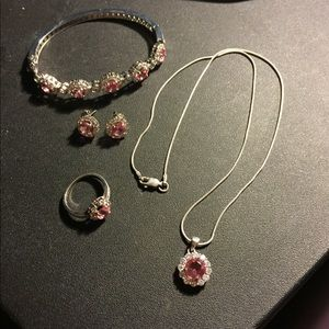 Jewelry - 4 piece sterling silver pink stone jewelry set